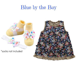 Baby Girl Dress Set: Japanese Cotton Baby Girl Dress w/ Barefoot sandal & Headband for infants 3-9 months - ZuriBabyCouture, baby fashion, baby shoes, infant fashion