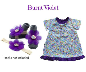 Baby Girl Dress Set: Baby girl shift dress w/ barefoot sandal & headband  for infants 3-9 months - ZuriBabyCouture, baby fashion, baby shoes, infant fashion