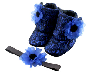 Western Blue Baby Girl Booties and Headband Set - ZuriBabyCouture, baby fashion, baby shoes, infant fashion