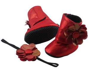 Coca Cola Red Baby Girl Booties and Headband Set - ZuriBabyCouture, baby fashion, baby shoes, infant fashion