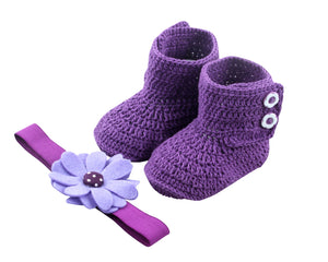 Baby Girl Booties Set: Super cute in Purple - ZuriBabyCouture, baby fashion, baby shoes, infant fashion