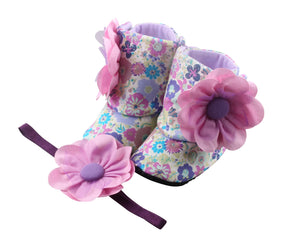 Luscious light purple Baby Girl Booties and Headband Set - ZuriBabyCouture, baby fashion, baby shoes, infant fashion