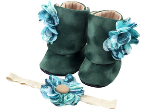 Aqua Fantasy Baby Girl Booties and Headband Set - ZuriBabyCouture, baby fashion, baby shoes, infant fashion