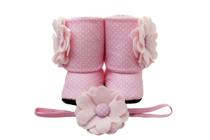 Pink for all seasons Baby Girl Booties and Headband Set - ZuriBabyCouture, baby fashion, baby shoes, infant fashion