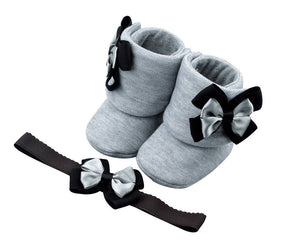 Perfect Shades of Gray Baby Girl Booties and Headband Set - ZuriBabyCouture, baby fashion, baby shoes, infant fashion