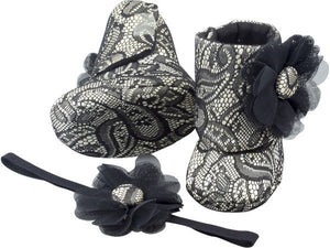 Old Hollywood Glam Baby Girl Booties and Headband Set - ZuriBabyCouture, baby fashion, baby shoes, infant fashion