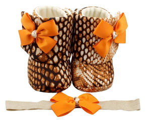 Tiger Lily Baby Girl Booties and Headband Set - ZuriBabyCouture, baby fashion, baby shoes, infant fashion