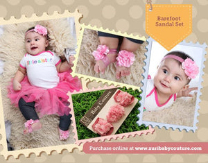 Baby Girl Barefoot Set for newborn, infant & toddlers: Pink Garden Barefoot Set - ZuriBabyCouture, baby fashion, baby shoes, infant fashion