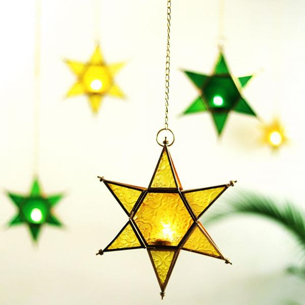 Yellow Star Hanging Lantern