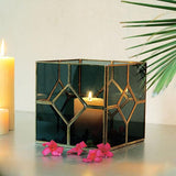 Black Glass Square Lantern