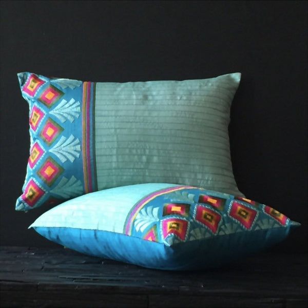 embroidered pattern cotton silk cushions