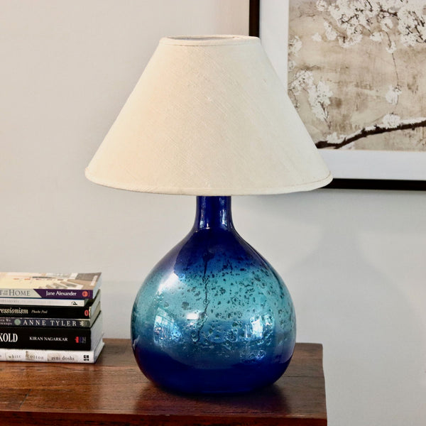 Blue Mouth Blown Glass Table Lamp