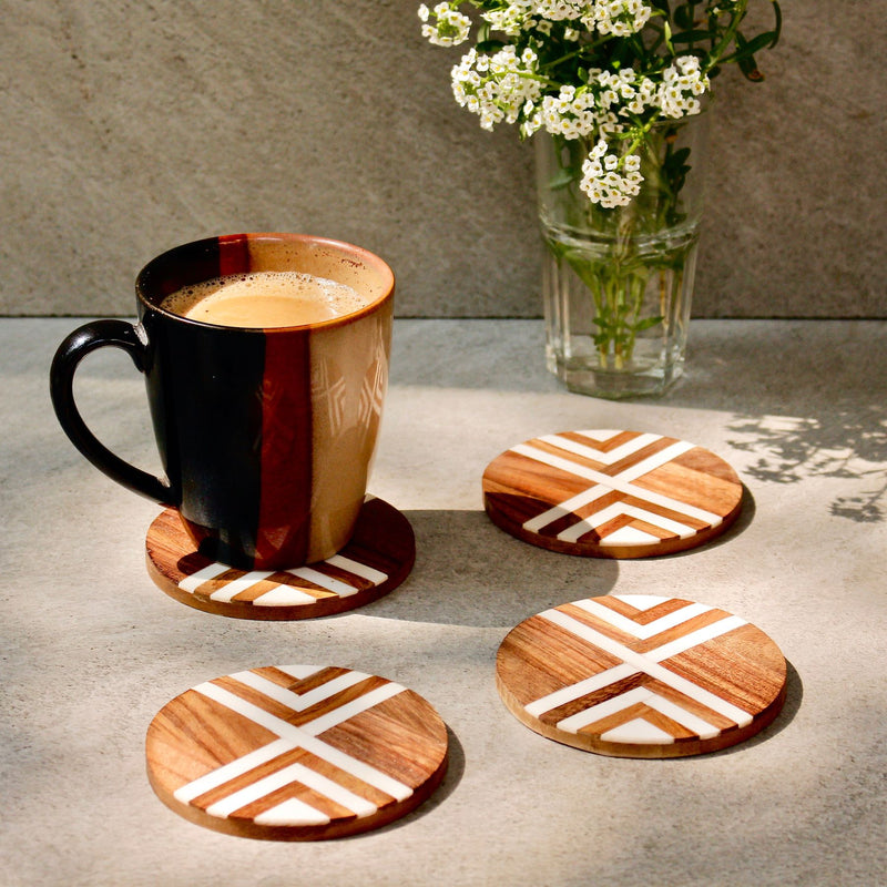 Brown & White Coasters - Set of 4