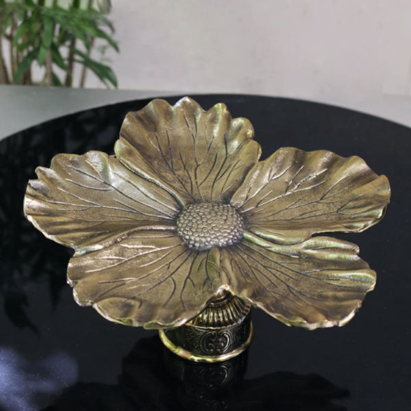 Burnt Gold Flower Platter