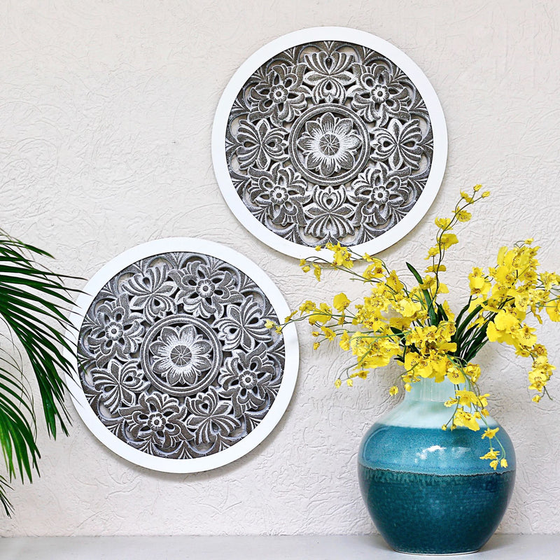 Carved Wood Round Panel S