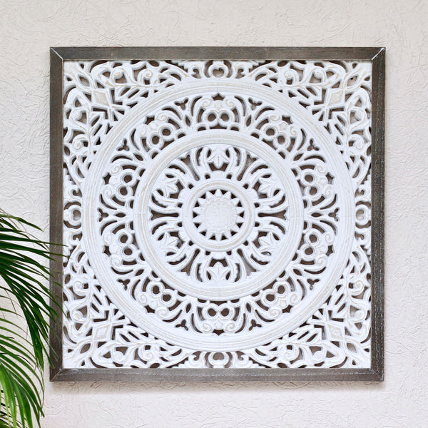 Carved Wood Square Panel L