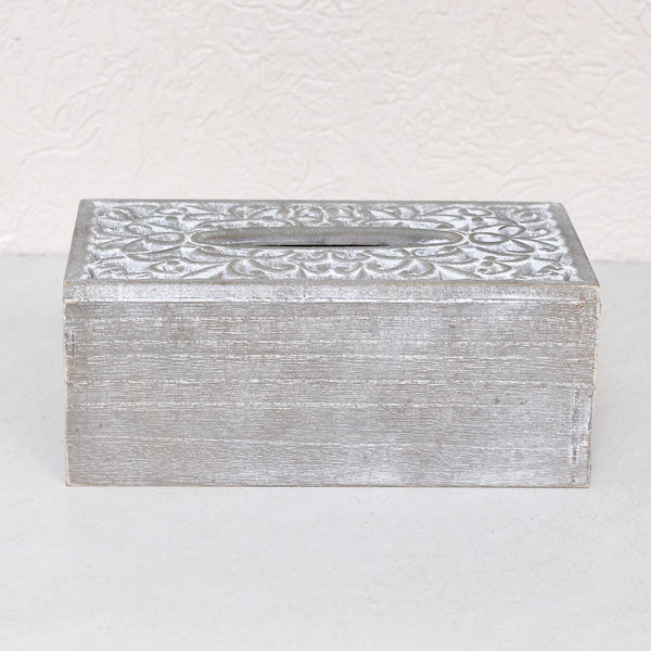 Carved Wood Tissue Box