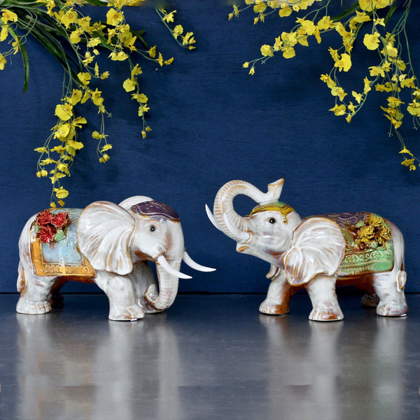 Ceramic Elephant Pair
