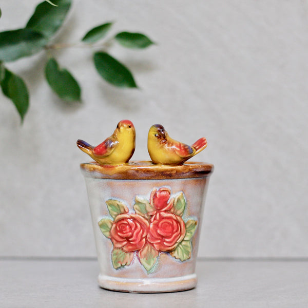 Ceramic Planter With Birds Set of 3