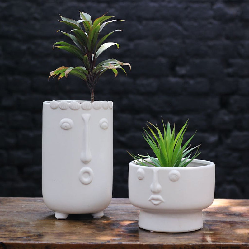 Face Ceramic Pot Tall