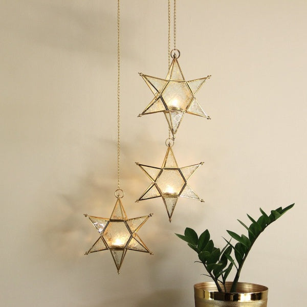 Glass Star Hanging Lantern