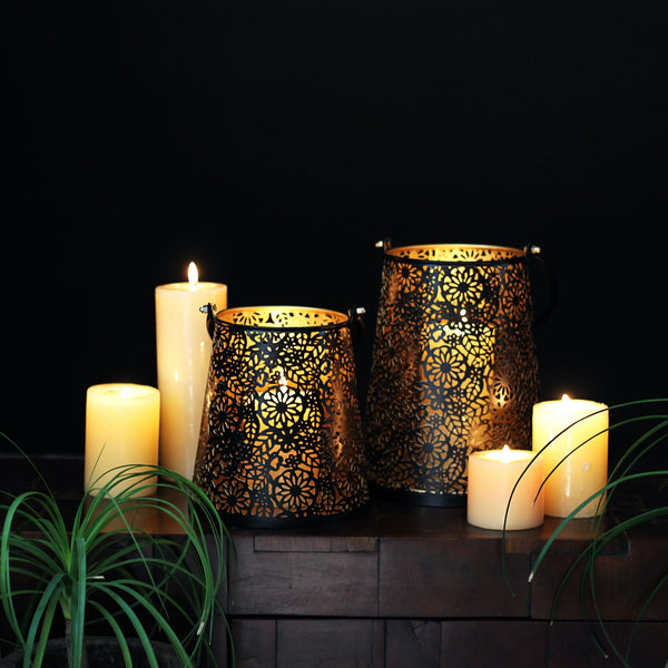 black and golden lantern with cutwork