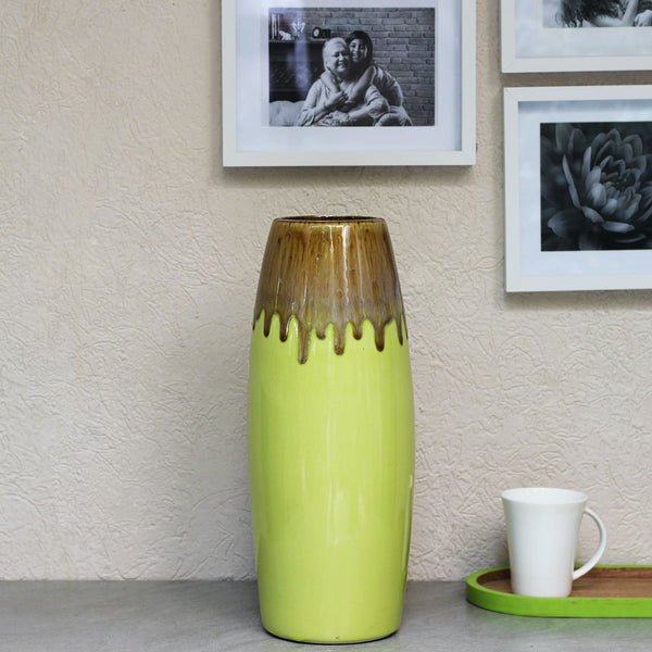 Glazed Tall Green Vase