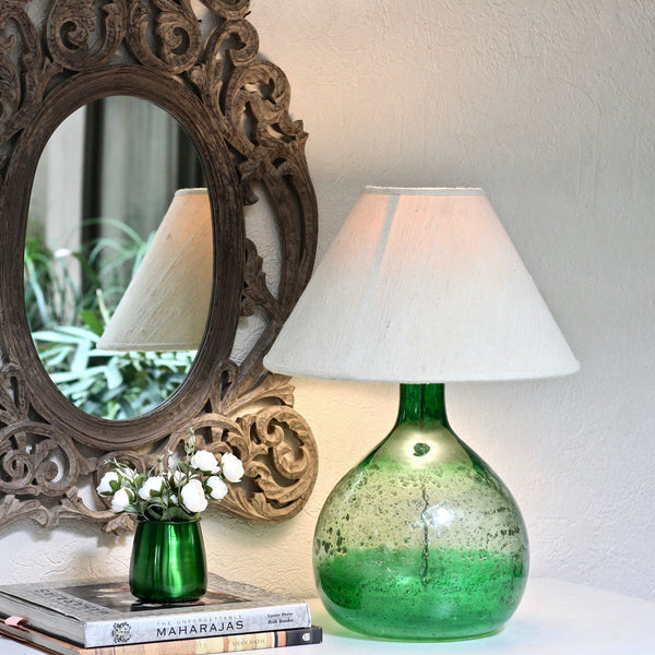 Green Mouth Blown Glass Table Lamp