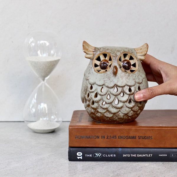 Grey Ceramic Owl
