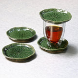 Lotus Leaf Ceramic Coasters - Set of 2