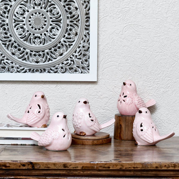 Pink Ceramic Birds Set of 3