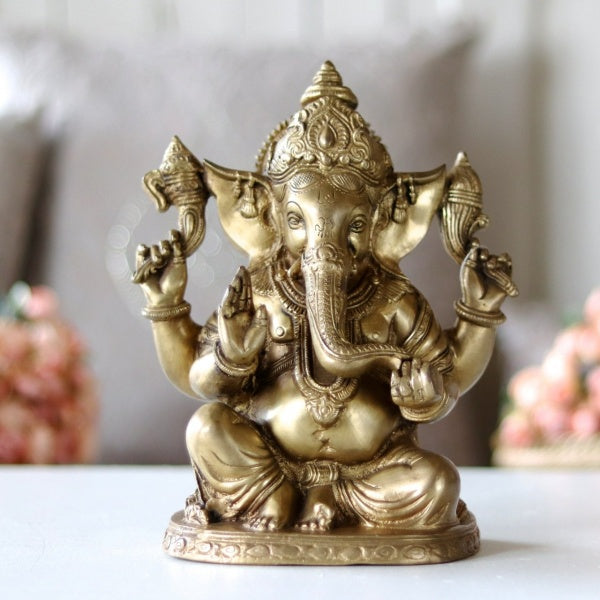 Brass Ganesha Sitting M