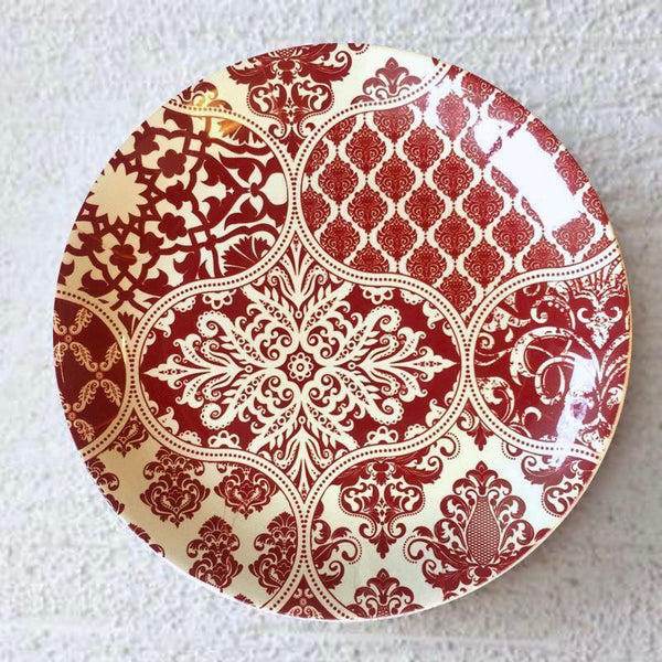 Red Motif Wall Plate