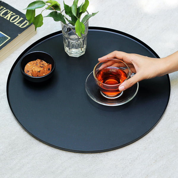 Round Black Metal Tray