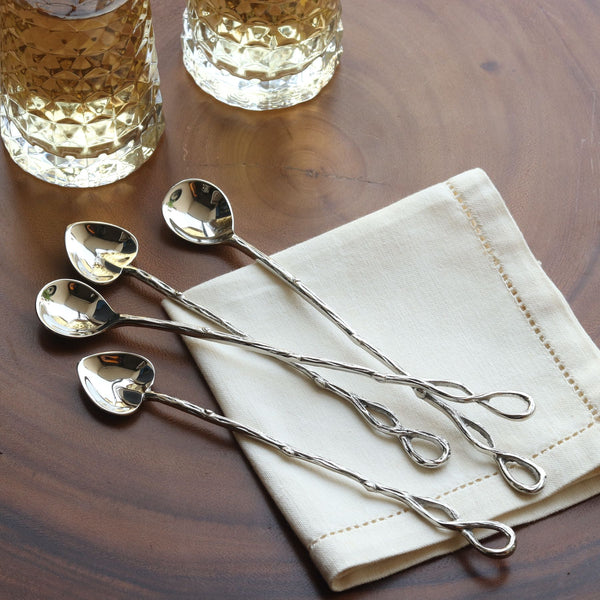 Silver Stirring Spoons - Set of 4