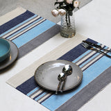 Striped Blue Table Mats - Set of 6