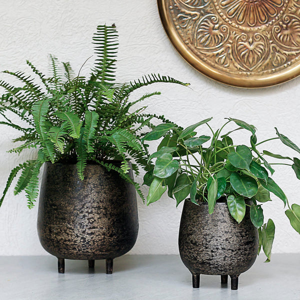 Textured Metal Pot with Legs