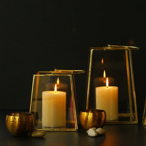 Brass & Glass Tapered Lantern