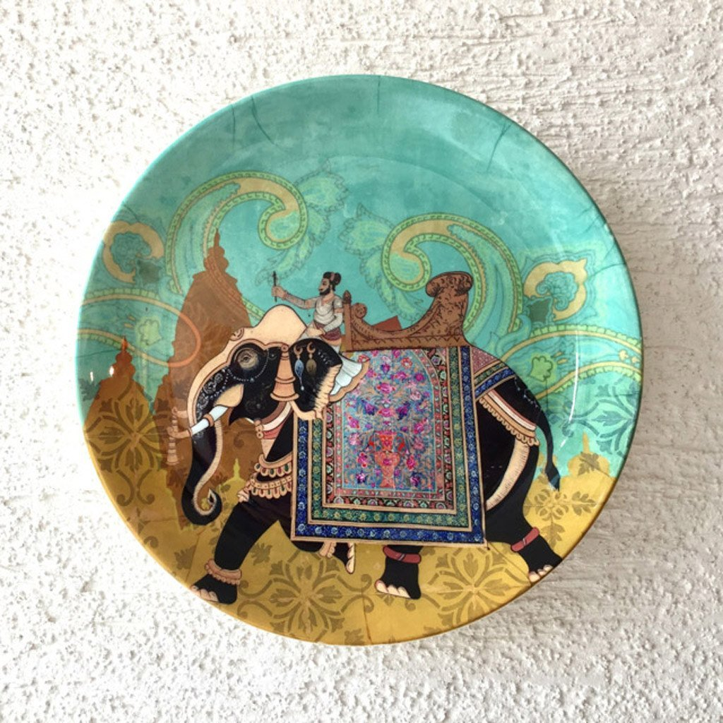 Wall-decorative-plate-Turquoise-elephant