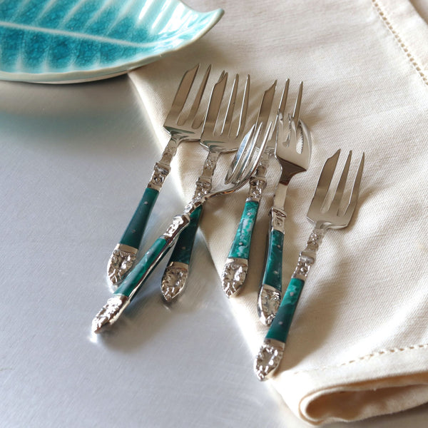 Emerald Fruit Forks - Set of 6
