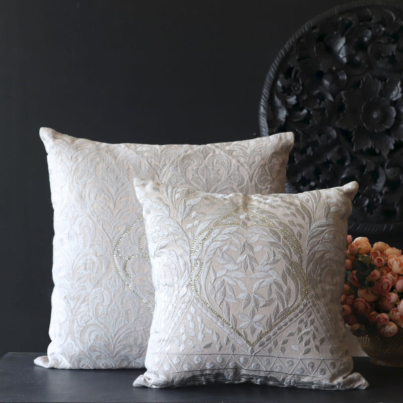 Grey Embroidery cushion