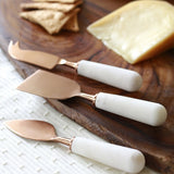 Marble & Copper Cheese Knives Set