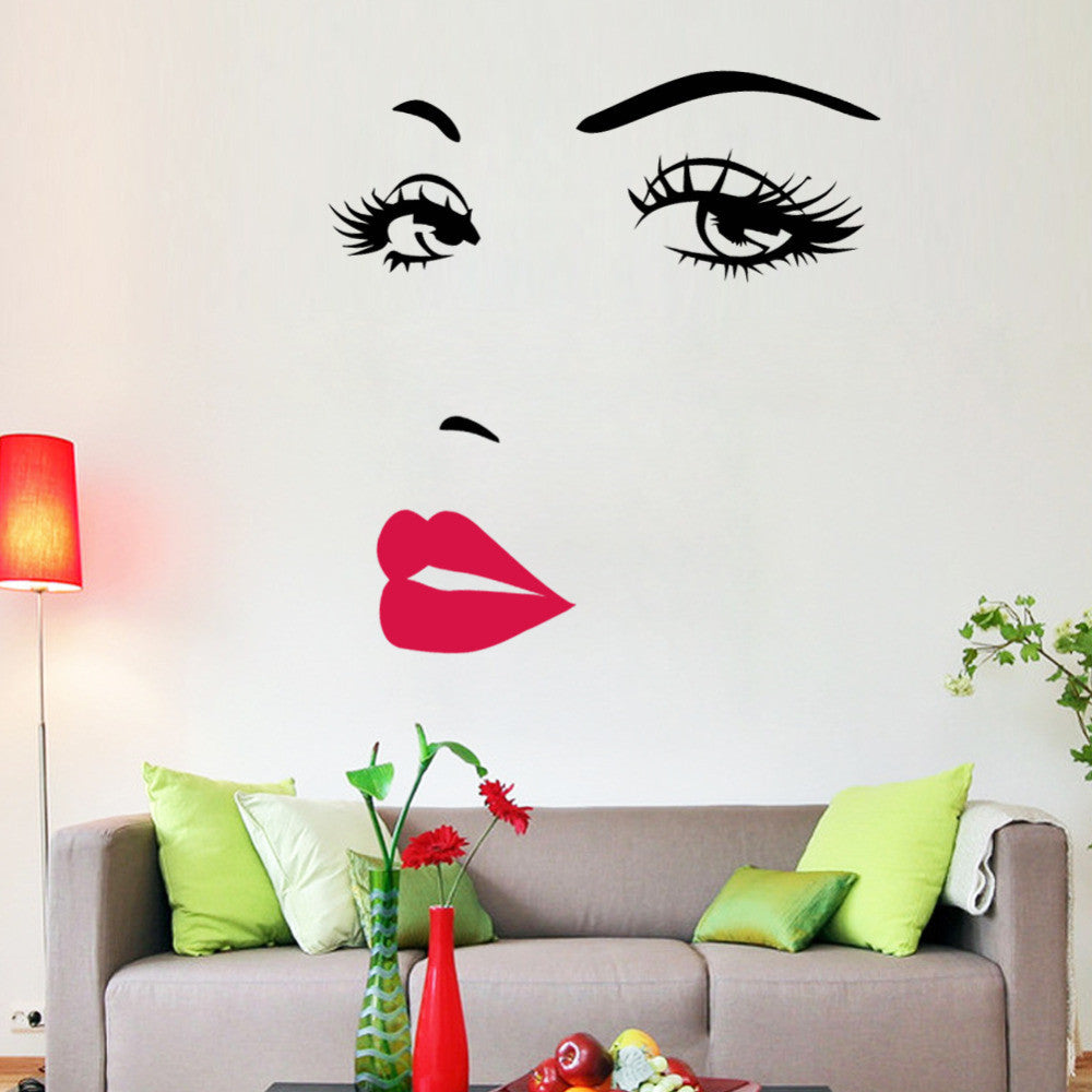 wall stickers naszdeal hot pink lips marilyn monroe quote vinyl wall stickers