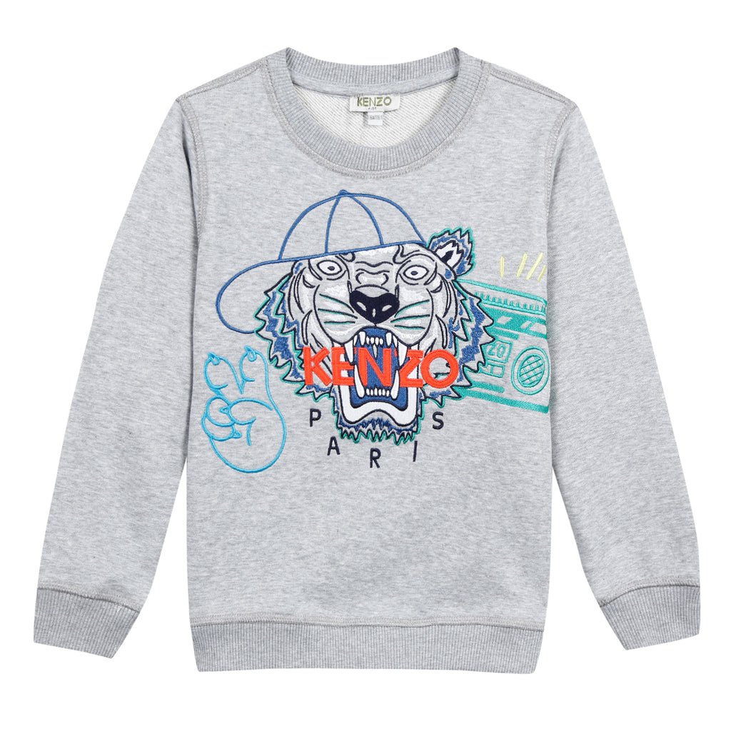 Kenzo Tiger Jb Grey Cotton Sweatshirt