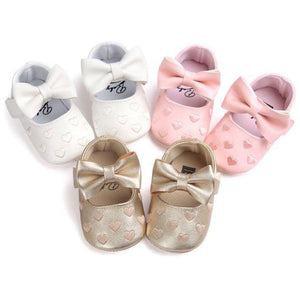 Non Slip Big Bow Embroidery Soft  Kids Shoes