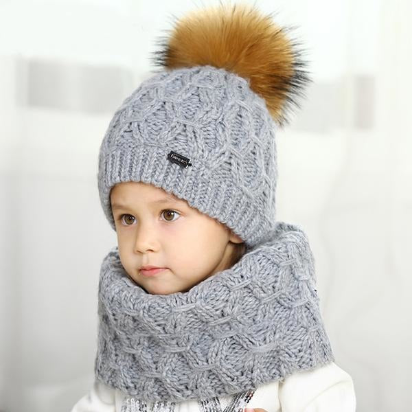 Winter Hat And Scarf Wool Set For Kids