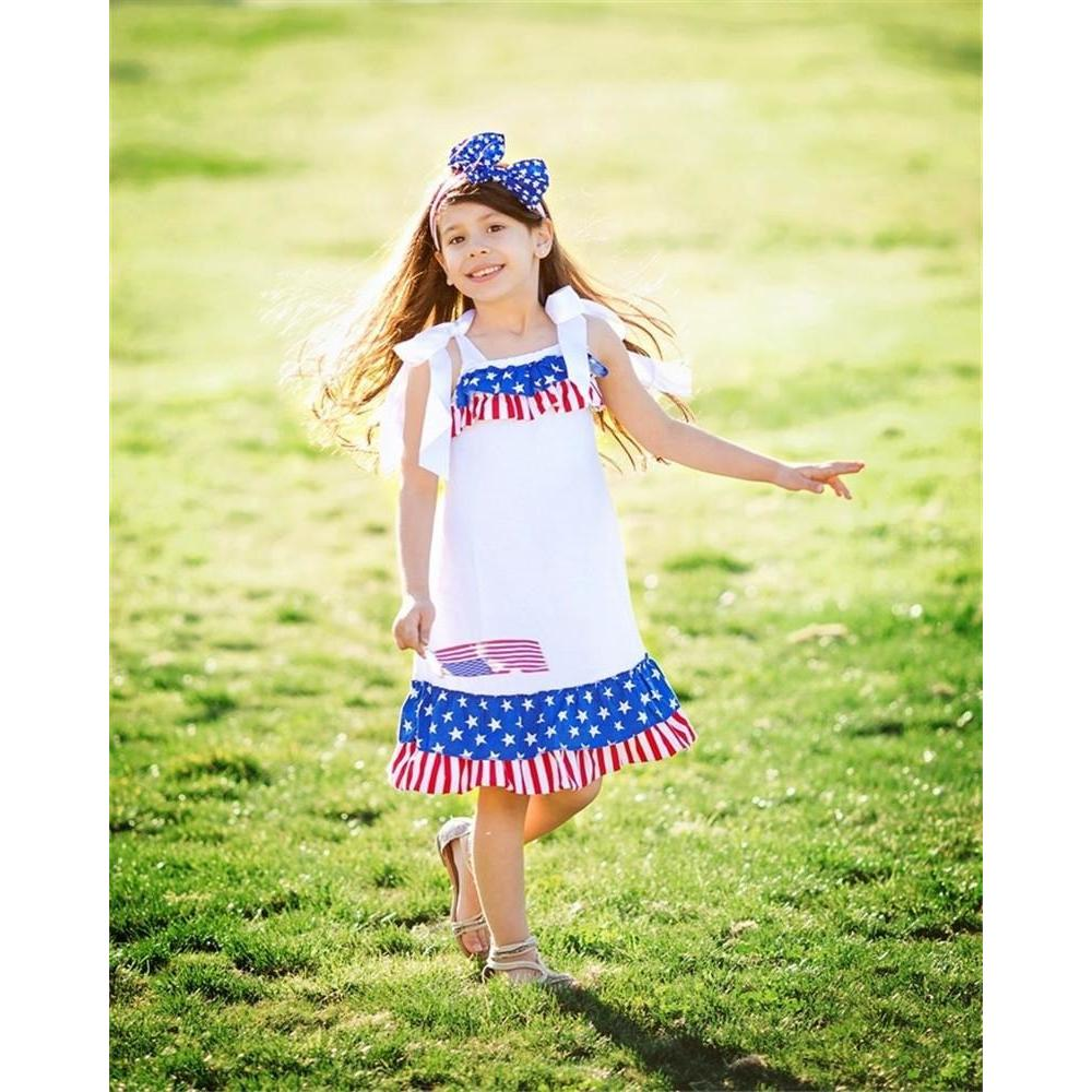 American Flag Girls Princess Dress + Hairband (Independence Day Special!)