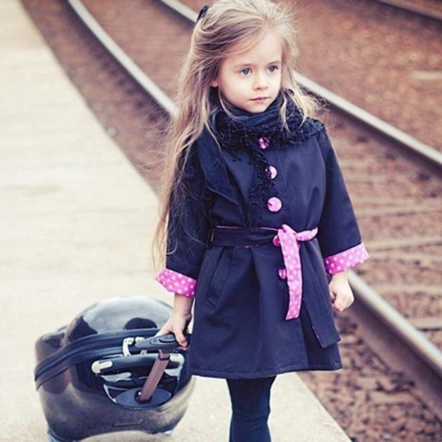 Fashionable Baby Girl Button Trench Coat