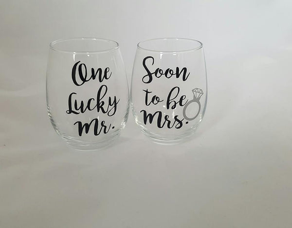 Soon To Be Mrs & One Lucky Mr. Wine Glasses, His And Her Wine Glasses