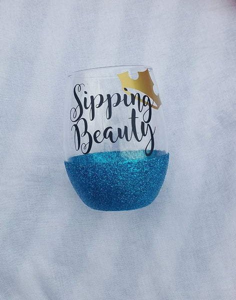 Sipping Beauty Wine Glass, Disney Wine Glass, Glitter Wine Glass